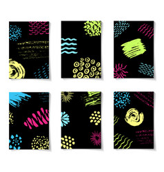 colorful ink brushes grunge patterns hand drawing vector image vector image
