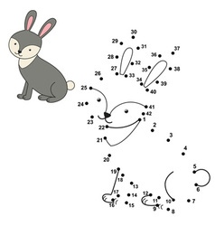 Connect the dots to draw the cute rabbit and color vector image