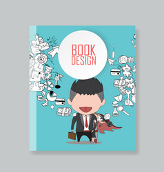 cover report happy face businessman hello vector image