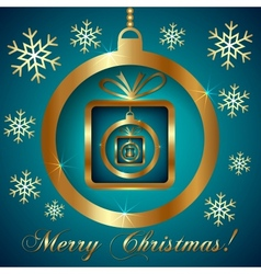 Cyan gold decorative christmas greeting card vector