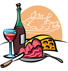 Dinner with wine vector