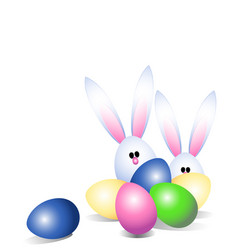 easter eggs and easter bunny vector image vector image