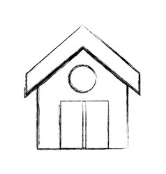 figure clean house with roof and door design vector image vector image
