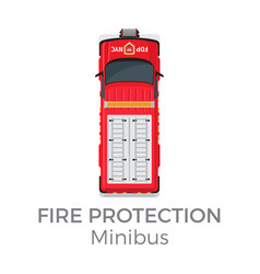 Fire protection minibus means of transportation vector