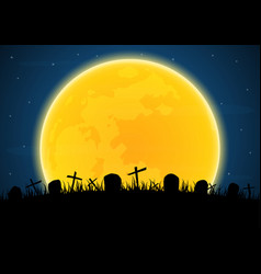 Halloween graveyard cross grave vector