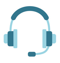 headphones flat icon call center and website vector image