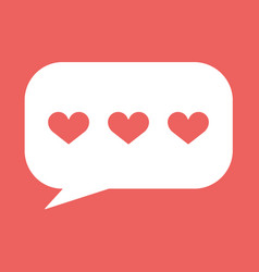 Hearts in speech bubble icon vector