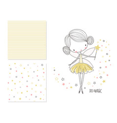 little fairy surface design and 2 seamless vector image vector image