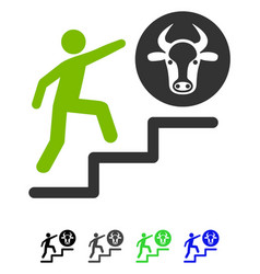 Person climbing to cow flat icon vector