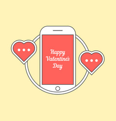 phone with hearts like messaging vector image vector image