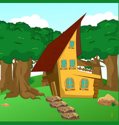 Rural cartoon forest cabin landscape vector