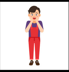 Scared boy in denim overalls vector