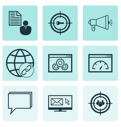 Set of 9 advertising icons includes newsletter vector