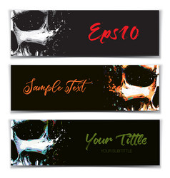 skull artistic splatter banners black orange vector image