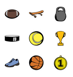 Sporting equipment icons set cartoon style vector