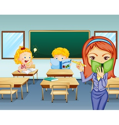 Students studying inside the classroom vector image vector image
