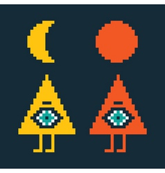 two pyramids with eyes vector image