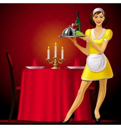 waitress in restaurant vector image