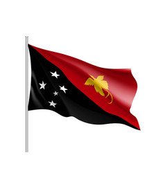 Waving flag of papua new guinea vector