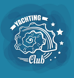 white lettering yachting club seashell vector image