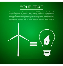 Wind turbine and bulb with leaves as idea of vector image