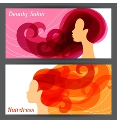 Woman silhouette with curly hair on banners for vector image vector image
