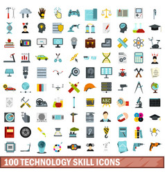 100 technology skill icons set flat style vector