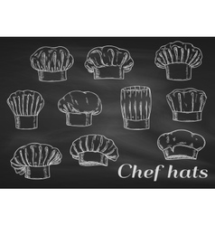 Chef toques caps and hats chalk icons vector