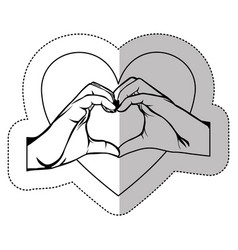 Figure hand with heart shape with inside breast vector