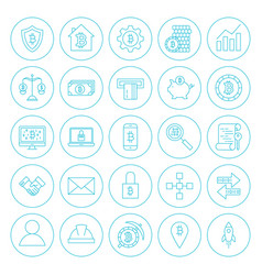 Line circle cryptocurrency icons vector