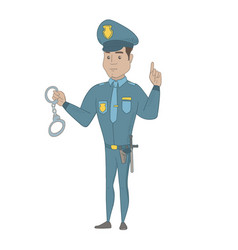 Young hispanic policeman holding handcuffs vector