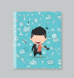 Book of a happy face businessman on icon business vector