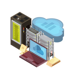 data cloud isometric composition vector image