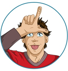 Guy shows loser signal with his fingers vector