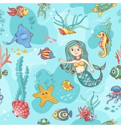Blue seamless pattern with mermaid vector
