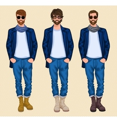 Hipster man set vector