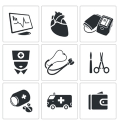 Heart disease hospital icons set vector