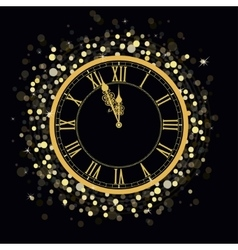 Golden new year clock vector