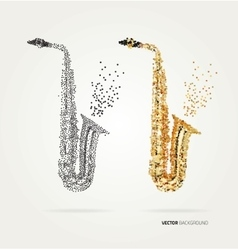 Abstract saxophone of colored dots vector