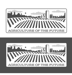 Farmers with fields badges vector