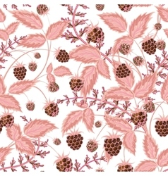 Seamless pattern with leaves and raspberry vector