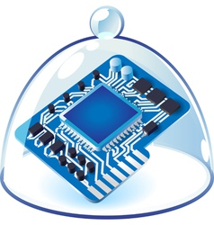 Icon of chipset under bell-glass vector image