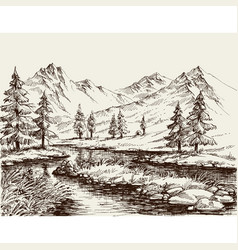 A river in the mountains sketch vector