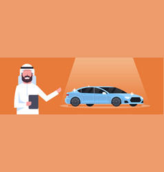 Arab seller man present new car dealership center vector