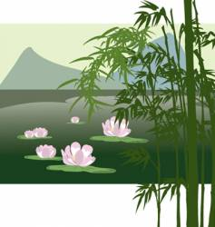 Asian lake with water lily vector image vector image
