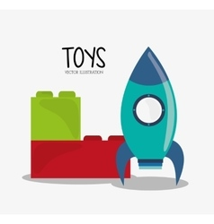 Blocks and rocket toy and game design vector image vector image