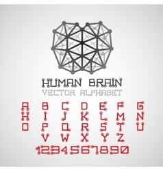 Brain style technical alphabet font set vector image