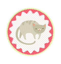 cat badge vector image vector image