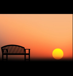 chair silhouette sunset vector image
