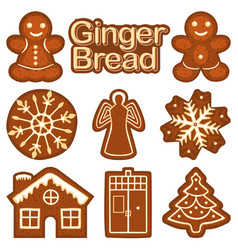 Christmas ginger bread cookie colorful bright set vector